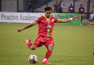 TRAU FC's Komron Tursunov in action in the Hero I-League. (Photo courtesy: AIFF Media)