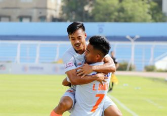 Lalchhanhima Sailo (right) and Taison Singh celebrate a goal for the Indian Arrows in the Hero I-League. (Photo courtesy: AIFF Media)