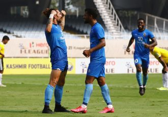 Churchill Brothers FC players Luka Majcen and Vinil Poojary celebrate a goal in the Hero I-League. (Photo courtesy: AIFF Media)
