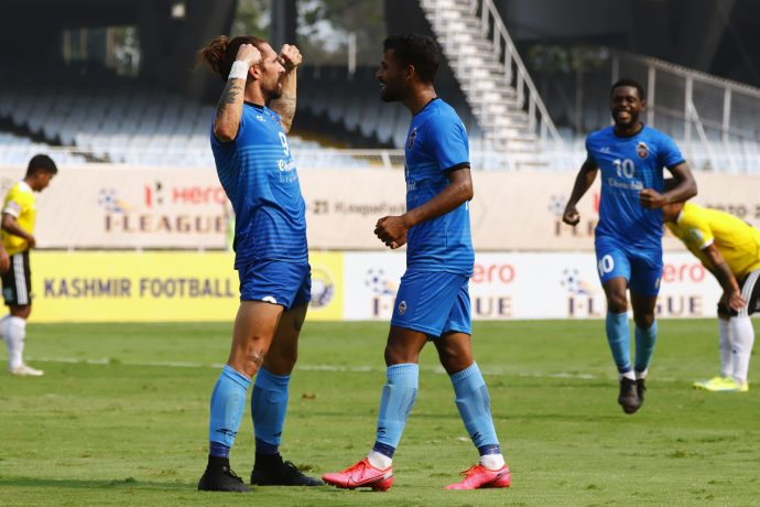 Churchill Brothers FC players Luka Majcen and Vinil Poojary celebrate a goal in the Hero I-League. (Photo courtesy: AIFF Media)