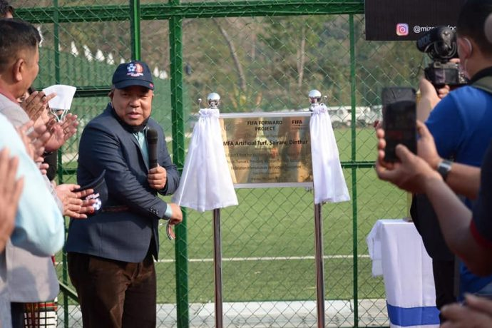 Robert Romawia Royte, Minister of Sports, Government of Mizoram during the inauguration ceremony of the new MFA Ground under the FIFA Forward Project at Sairang Dinthar. (Photo courtesy: Paul Hruaia / Mizoram Football Association)
