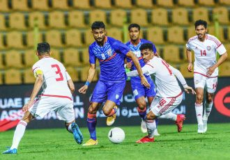 Indian national team striker Manvir Singh in action against the UAE in an international friendly match on March 29, 2021. (Photo courtesy: AIFF Media)
