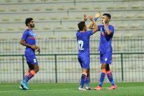 Indian national team striker Manvir Singh celebrates his goal against Oman in an international friendly match in Dubai, UAE on March 25, 2021. (Photo courtesy: AIFF Media)