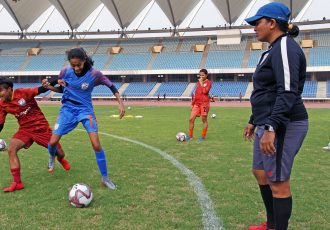 Indian Women's national team head coach Maymol Rocky during a training session at the Jawaharlal Nehru Stadium in New Delhi. (Photo courtesy: AIFF Media)
