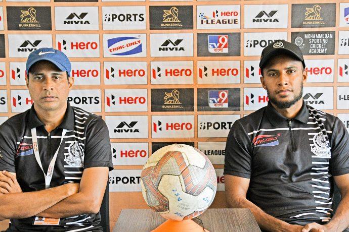 Mohammedan Sporting Club head coach Sankarlal Chakraborty and midfielder Jamal Bhuyan. (Photo courtesy: Mohammedan Sporting Club)
