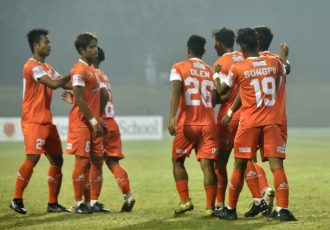 NEROCA FC players celebrate a goal in the Hero I-League. (Photo courtesy: AIFF Media)