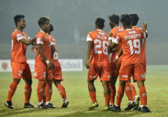 NEROCA FC players celebrate a goal in the Hero I-League. (Photo courtesy: AIFF Media)