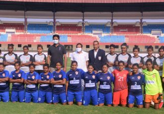 Players and officials of Sports Hostel and Odisha Police moments before their FAO Women's League match. (Photo courtesy: Football Association of Odisha)