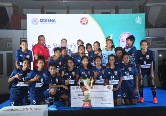 Rising Student Club players and officials celebrate their FAO Odisha Women's League 2020/21 title. (Photo courtesy: Football Association of Odisha)