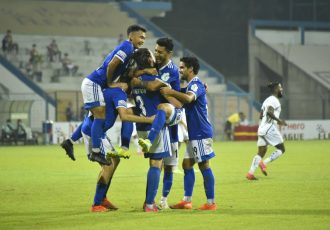 Real Kashmir FC players celebrate a goal in the Hero I-League. (Photo courtesy: AIFF Media)