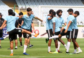Real Kashmir FC players during training. (Photo courtesy: AIFF Media)