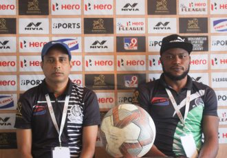 Mohammedan Sporting Club head coach Sankarlal Chakraborty and striker John Chidi. (Photo courtesy: Mohammedan Sporting Club)