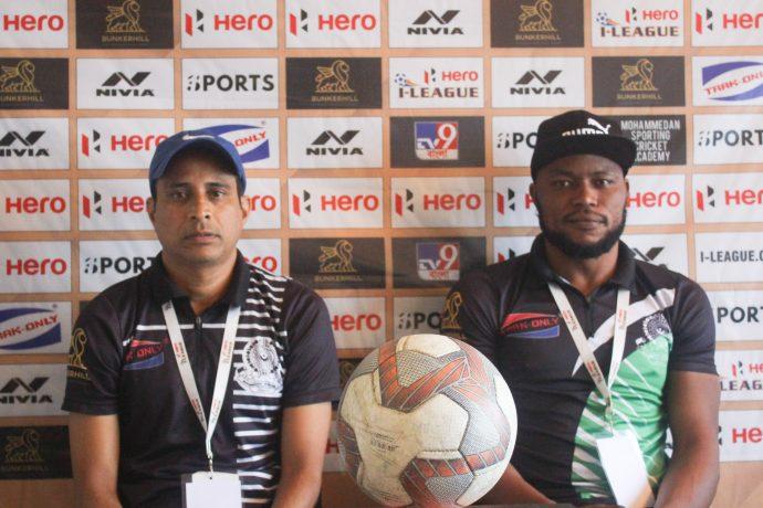 Mohammedan Sporting Club head coach Sankarlal Chakraborty and striker John Chidi. (Photo courtesy: Mohammedan Sporting Club)