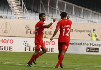 Sudeva Delhi FC's Shubho Paul and Shaiborlang Kharpan celebrate a goal in the Hero I-League. (Photo courtesy: AIFF Media)