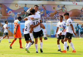 Sudeva Delhi FC players celebrate a goal in the Hero I-League. (Photo courtesy: AIFF Media)