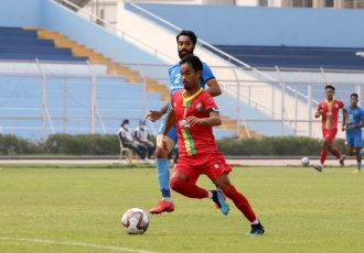 Hero I-League match action between TRAU FC and Churchill Brothers FC. (Photo courtesy: AIFF Media)
