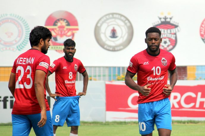 Churchill Brothers FC players during their pre-match warm-up. (Photo courtesy: AIFF Media)