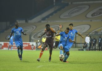Hero I-League match action between Churchill Brothers FC and Gokulam Kerala FC. (Photo courtesy: AIFF Media)