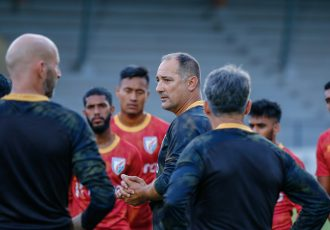 Indian national team head coach Igor Štimac with his squad. (Photo courtesy: AIFF Media)