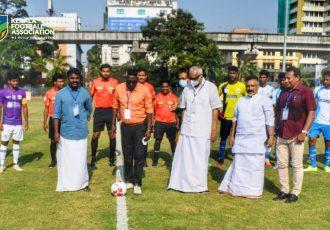 Indian national team legend IM Vijayan and other dignitaries ahead of the Ramco Kerala Premier League 2020/21 inaugural match between Kerala United FC and Kovalam FC. (Photo courtesy: Kerala Football Association)
