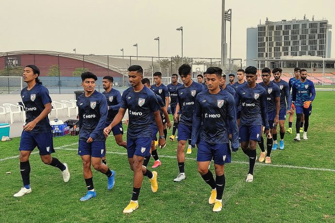The Indian national team during training in Dubai, UAE. (Photo courtesy: AIFF Media)