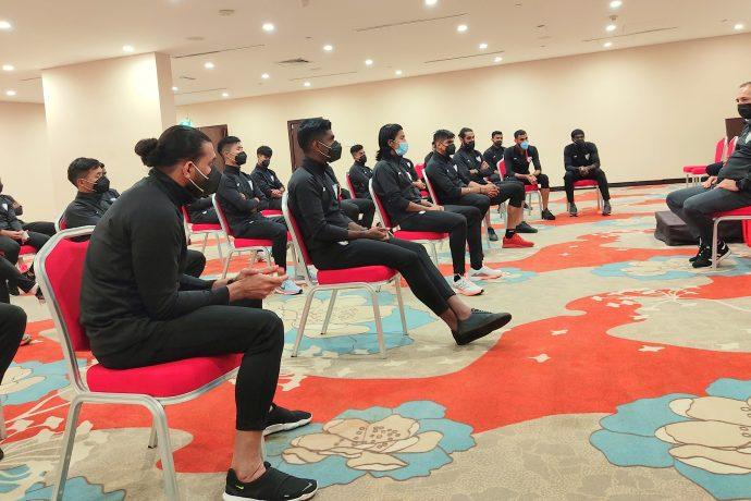 Indian national team head coach Igor Štimac and his squad during a team meeting in Dubai. (Photo courtesy: AIFF Media)