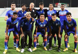 Indian national team head coach Igor Štimac with his ten debutants after the Oman friendly match in Dubai. (Photo courtesy: AIFF Media)