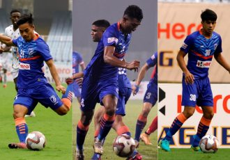 India U-16 trio Loitongbam Taison Singh, Halen Nongdtu and Amandeep in action for the Indian Arrows. (Photo courtesy: AIFF Media)