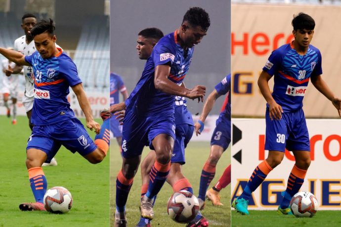 India U-16 trio Loitongbam Taison Singh, Halen Nongdtu and Amandeep in action for the Indian Arrows. (Photo courtesy: AIFF Media)