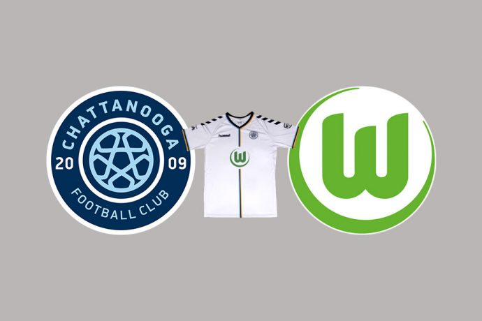 The new Chattanooga FC away jersey featuring the VfL Wolfsburg logo.