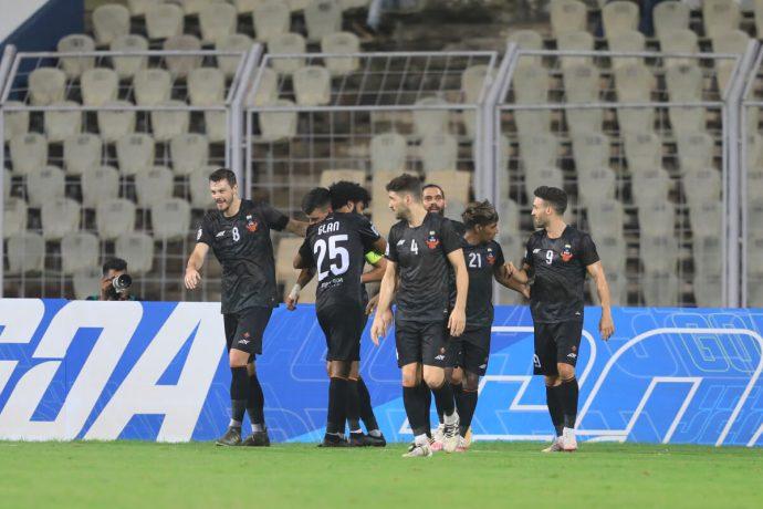 FC Goa players celebrate a goal in the AFC Champions League. (Photo courtesy: AIFF Media)