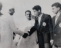 Ahmed Hussain (second from right) with former Prime Minister Jawaharlal Nehru before leaving for Malaysia for Merdeka Tournament in 1959. (Photo courtesy: AIFF Media)