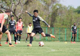 Bengaluru FC skipper Sunil Chhetri in training. (Photo courtesy: Bengaluru FC)