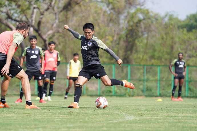 Bengaluru FC skipper Sunil Chhetri in training. (Photo courtesy: Bengaluru FC)