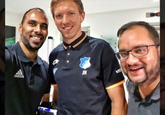 Chris Punnakkattu Daniel, Julian Nagelsmann and Arunava Chaudhuri. (© CPD Football)