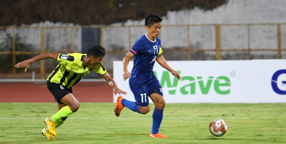 Bengaluru FC skipper Sunil Chhetri in action against Tribhuvan Army FC in an AFC Cup encounter. (Photo courtesy: Bengaluru FC)