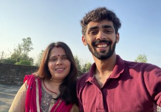 Indian national team left back Akash Mishra and his mother Suman Mishra. (Photo courtesy: AIFF Media)