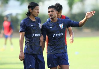 Pritam Kotal (right) along with fellow defender Chinglensana Singh during an Indian National Team training camp. (Photo courtesy: AIFF Media)