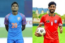 Indian national team defender Pritam Kotal and Bangladesh national team striker Nabib Newaj Jibon. (Photo courtesy: AIFF Media)