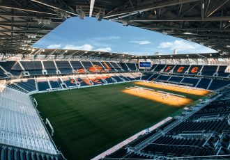 The coninuous seating bowl of TQL Stadium is designed to harness the noise and energy of the fervent FC Cincnnati fan base. (Photo courtesy: Populous)