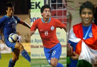 Former Indian national team stars Bhaichung Bhutia, Renedy Singh and Nirmal Chhetri. (Photo courtesy: AIFF Media)