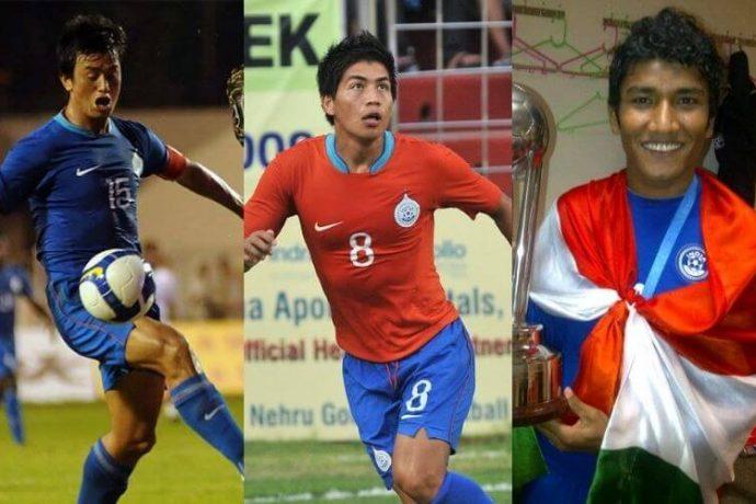 Former Indian national team stars Bhaichung Bhutia, Renedy Singh and Nirmal Chhetri. (Photo courtesy: AIFF Media)