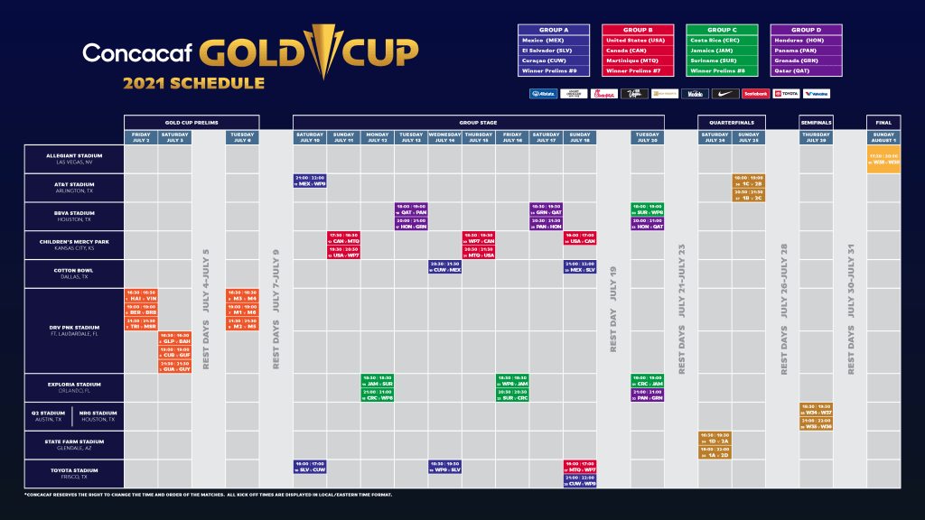 Concacaf Gold Cup 2021 Schedule (Image courtesy: Concacaf)