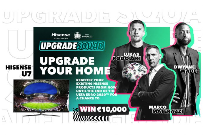 Dwyane Wade officially kicks off Hisense's #UpgradeYourHome campaign by calling out to European football legends including Marco Materazzi and Lukas Podolski to bring the Upgrade Season to Europe. (Image courtesy: Hisense)