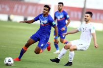 Indian national team winger Ashique Kuruniyan in action against Afghanistan in the FIFA World Cup Qatar 2022 and AFC Asian Cup China 2023 Qualifiers. (Photo courtesy: AIFF Media)
