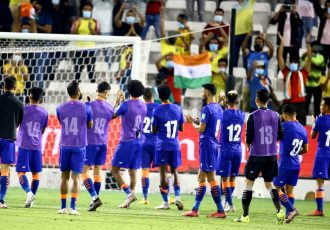 Indian national team players after their FIFA World Cup Qatar 2022 and AFC Asian Cup China 2023 qualifier against Qatar. (Photo courtesy: AIFF Media)