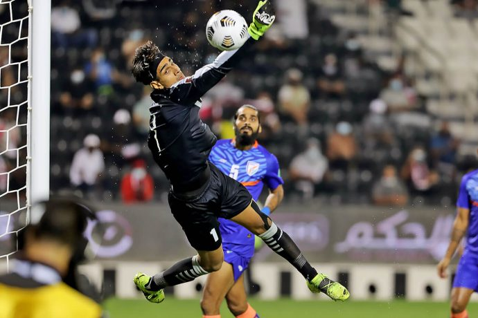 Indian national team goalkeeper Gurpreet Singh Sandhu in action against Qatar in the FIFA World Cup Qatar 2022 and AFC Asian Cup China 2023 qualifiers. (Photo courtesy: AIFF Media)