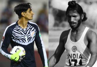 Indian national team goalkeeper Gurpreet Singh Sandhu and legendary Indian track and field sprinter Milkha Singh. (Photo courtesy: AIFF Media)