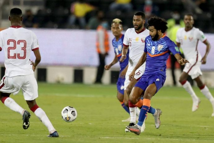 Indian national team midfielder Glan Martins in action against Qatar in the FIFA World Cup Qatar 2022 and AFC Asian Cup China 2023 qualifiers. (Photo courtesy: AIFF Media)