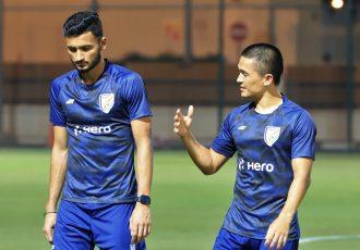 Indian national team strikers Manvir Singh and Sunil Chhetri. (Photo courtesy: AIFF Media)